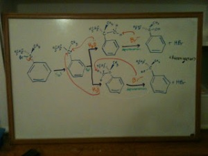 During organic chemistry, writing out complex reactions on my dry erase board helped me understand the concepts better.