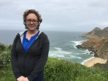 Hiking a trail in Pacifica, CA.