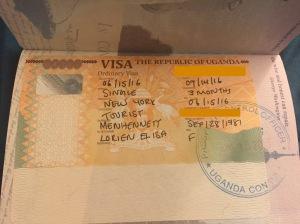 My visa to Uganda.