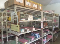 Interior of the hospital pharmacy.