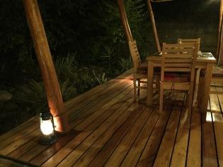 Safari lodge at night