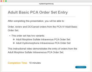 Our required EMR training includes a 10-minute lesson on how to order PCAs.